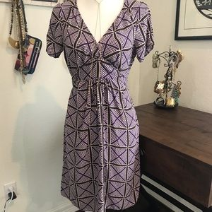 J. Crew Purple and Brown Silk Dress